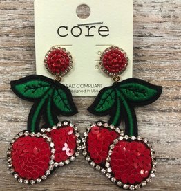 Jewelry Red Cherry Applique Earrings