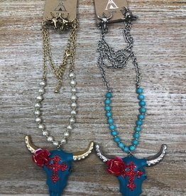 Jewelry Teal Cow Skull Rhinestone Necklace