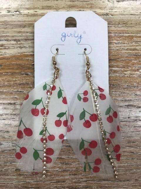 Jewelry Feather Cherry Earrings