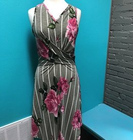 Dress Gray Floral Stripe Twist Dress