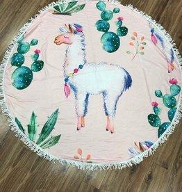Towel Round Llama/Cactus Beach Towel