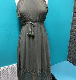 Dress Olive Tassel Tie w/ Lace Dress