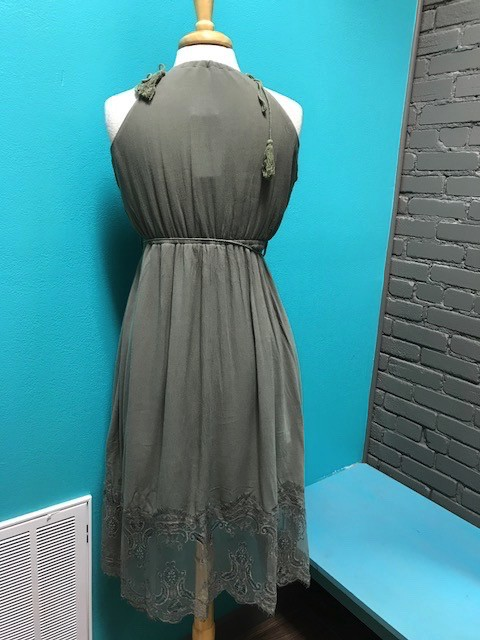 Dress Olive Tassel Tie w/ Lace Dress