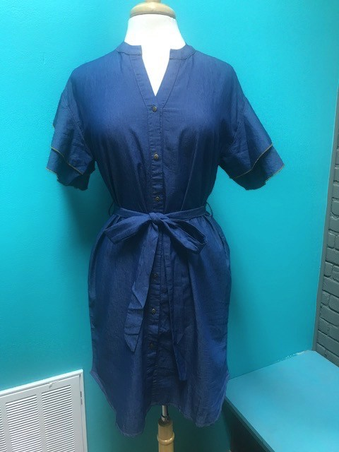 Dress Denim Ruffled Sleeve Tie Dress