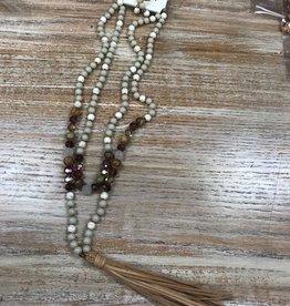 Dress Natural Beaded Tassel Necklace