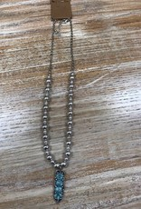 Jewelry Silver Beads w/ Turq Pendant Necklace