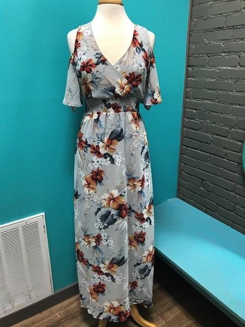 Dress Grey/Blue Floral Maxi Dress