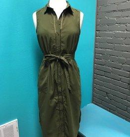 Dress Olive Button Up Dress w/ Tie