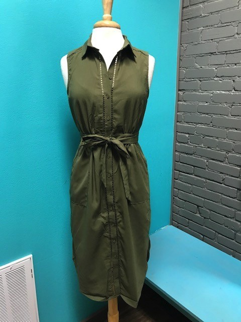 Dress Olive Button Up Dress w/ Tie