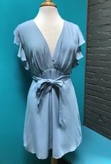 Dress Blue Ruffle Sleeve Deep V Dress