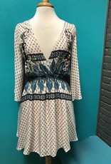 Dress Taupe Print Slit Sleeve Dress