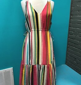 Dress Tropical Stripe VNeck Dress