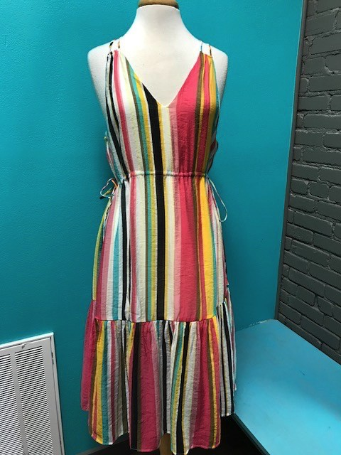 Dress Tropical Stripe VNeck Dress