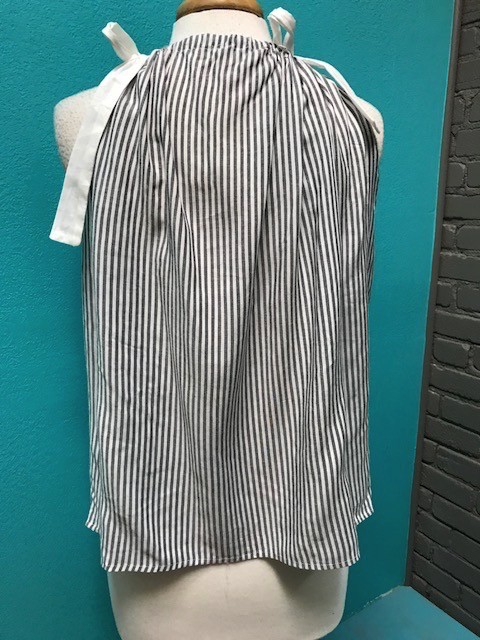 Tank Stripe Tie Tank w/ Embroid