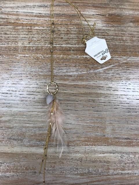Jewelry Gold Hexagon Arrow Feather Neckalce