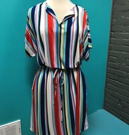 Dress Multi Stripe Waist Tie Dress