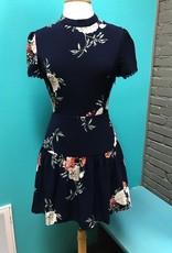 Dress Navy Floral Lace Back Dress