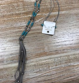 Jewelry Long Gray/Teal Bead/Tassel Necklace