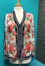 Shirt Floral Button Open Arm Shirt