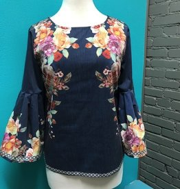 Shirt Navy Floral Pleated Bell Shirt
