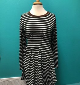 Dress Striped LS Dress w/ Suede Elbow Patches