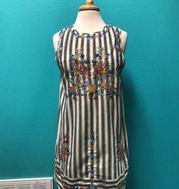 Dress Stripe Dress w/ Floral Embroidery