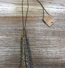 Jewelry Long Necklace w/ Gray Beads