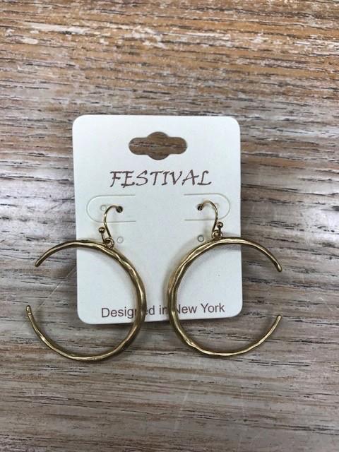 Jewelry Gold Semi Circle Hoop Earrings