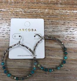 Jewelry Silver Hoop Teal Beads Earrings