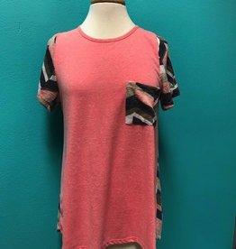 Shirt Pink Chevron Knit Back Tee
