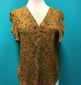 Shirt Mustard Floral Ruffle Shirt