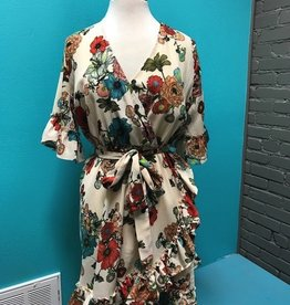 Dress Floral Print Bell Sleeve Dress