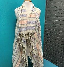 Vest Peach and Cream Vest w/Tassels