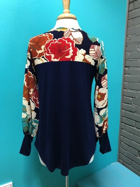 Long Sleeve Navy Floral Puff Sleeves Top
