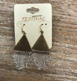 Jewelry Gold Triangle Silver Fringe Earrings