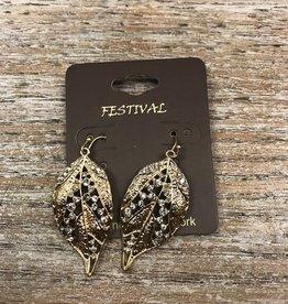 Jewelry Gold Leaf w/ Silver Stone Earrings