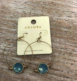 Jewelry Gold Hoop Earrings w/ Teal Gem
