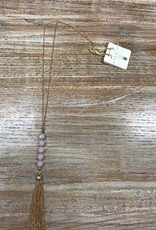 Jewelry Long Necklace w/ Pink Beads/Tassle