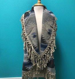Vest Aztec Pattern Vest w/ Fringe