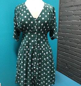 Dress Sage Crinkled Polka Dot Dress