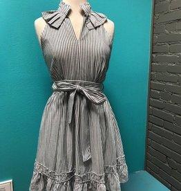 Dress Gray Stripe Ruffle Tie Dress