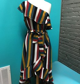 Dress Multi Stripe One Shoulder