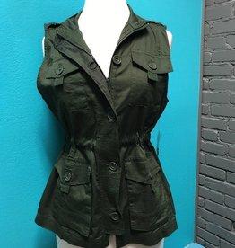 Vest Olive Cargo Zip Vest