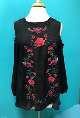 Top Black Embroid Cold Shoulder Top