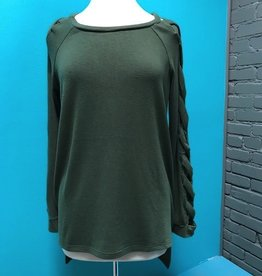 Sweater Olive Sweater w/ Strappy Sleeves