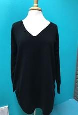 Sweater Black Vneck Sweater w/ Lace Up Back