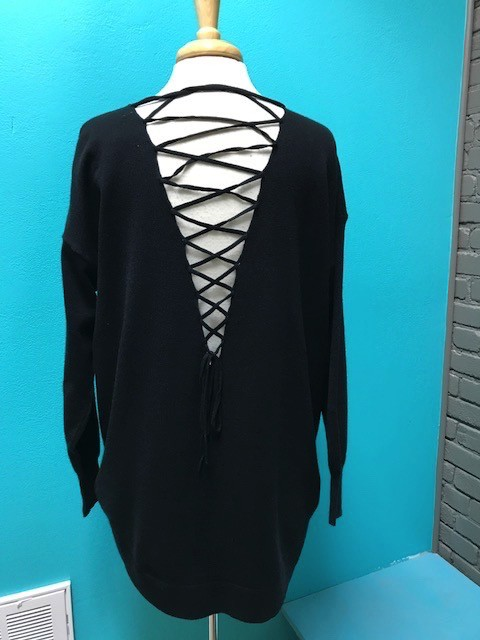 Sweater Black Vneck Sweater w/ Lace Up Back
