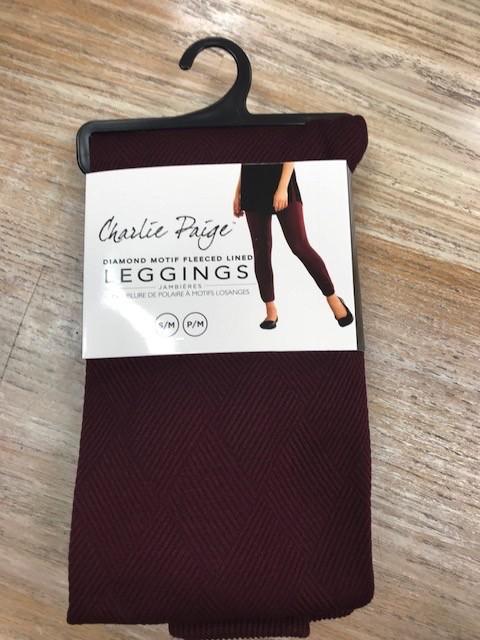 Leggings Fleeced Line Color Diamond Leggings