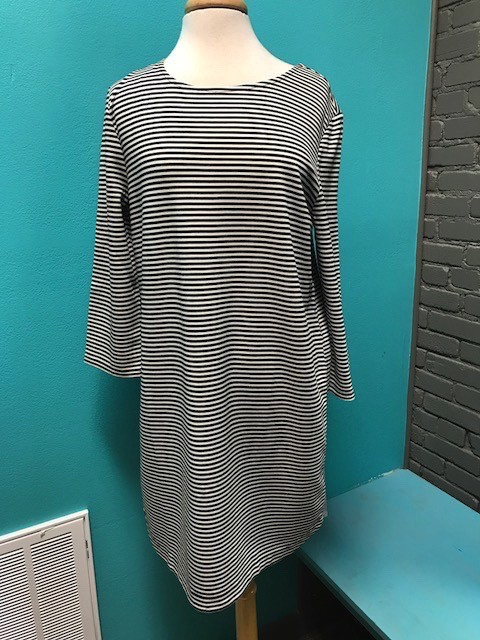 Dress Black/White Stripe LS Dress
