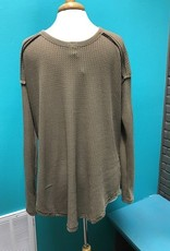 Long Sleeve Olive Waffle LS Strap Top